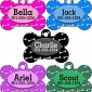 Personalized Dog Tag Pet ID Tag w/ Name & Number Colorful Dog Bones (Purple)